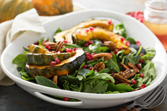 Fall salad with greens and acorn squash Royalty Free Stock Image