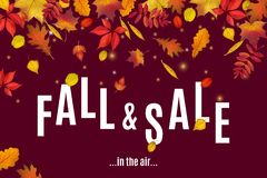 Fall and sale are in the air banner template. Fall and sale are in the air. Autumn discount sale banner template with fall leaves on brown background. Shop Stock Image