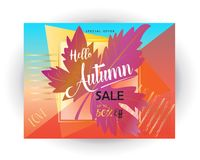 Fall Sale. Autumn Sale discount gift card. Fall maple leaves abstract background. Save up to half price leaflet. Shop whole sale coupon & discover up to 50% off Royalty Free Stock Photo