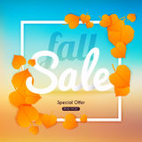 Fall sale Banner with autumn leaf.  Poster, Flyer. Blurred backg Royalty Free Stock Image