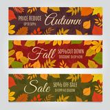 Fall sale banners. Autumn offer and season discounts advertising background with yellow leaves. Vector set. Discount and offer banner, season sale illustration stock illustration