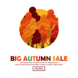 Fall sale design. Big autumn sale. Vector illustration with colorful autumn trees Stock Photos