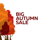 Fall sale design. Can be used for flyers, banners or posters. Vector illustration with colorful autumn trees.  Stock Photography