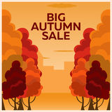 Fall sale design. Can be used for flyers, banners or posters. Vector illustration with colorful autumn trees.  Royalty Free Stock Photos