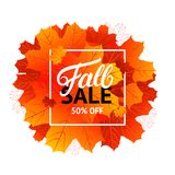 Fall sale design template with hand written lettering for poster, card, label, banner. Bright fall leaves. White background. Vector illustration Royalty Free Stock Photo