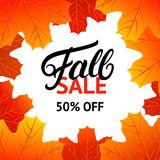 Fall sale design template with hand written lettering for poster, card, label, banner. Bright fall leaves. White background. Vector illustration vector illustration