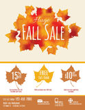 Fall Sale Flyer Template. Fall Sale flyer with watercolor Fall Leaves Royalty Free Stock Photo