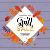 Fall sale poster banner vector leaf pattern background for autumn shopping. Fall sale background of abstract autumnal maple, oak and rowan leaf pattern. Vector Stock Images