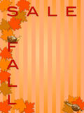 Fall  Sale Sign with Maple Tree Leaves and Snails Stock Photography