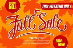 Fall Sale special offer banner with hand drawn lettering and autumn leaves for seasonal shopping. This weekend discount up to 50% off. Shop now! Autumn season Vector Illustration