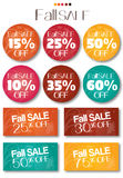 Fall Sale tag set. Vector no shadow on the eps. text is outline Royalty Free Stock Photos