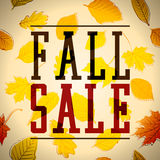 Fall Sale. Text with a Background full of Leaves. Autumn Vector Illustration Stock Photography