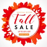 Fall sale with text 70% off special offer in frame from bright red maple leaves. Autumn sale background, shop now for promotion banner or flyer design. Vector vector illustration