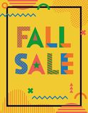 FALL SALE. Trendy geometric font in memphis style of 80s-90s. Abstract geometric shapes and text on yellow background royalty free illustration