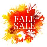 Fall Sale with watercolor leaves Royalty Free Stock Image