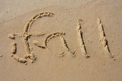 Fall in the sand. Fall written out in the sand Royalty Free Stock Photos