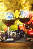Fall scene with glasses of red wine and grapes royalty free stock images