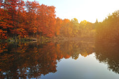 Fall Scene with Lake and Trees Autumn Reflection Royalty Free Stock Photos