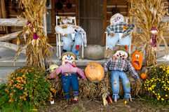 A fall scene with scarecrows Royalty Free Stock Photography