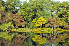 Fall scenery with colourful trees reflected in lake Stock Photography
