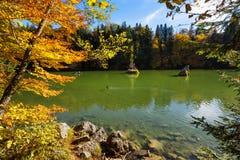 Fall scenic autumn color mountain lake Stock Photo