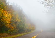 Fall scenic highway in North Carolina mountains. Royalty Free Stock Photography