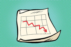 The fall schedule income sales arrow. Pop art retro vector illustration. Business and Finance Stock Images