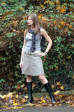 Fall season. Fashion Model presenting autumn look royalty free stock images