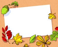 Fall season banner. Autumn frame with bright leaves and acorn. Stock Photos