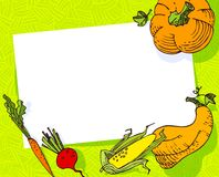 Fall season banner. Autumn frame with crop vegetables Royalty Free Stock Images