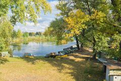 Fall season at boating station Royalty Free Stock Photography