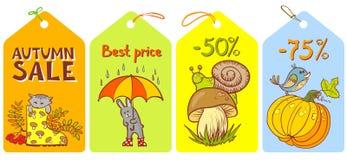 Fall season. Cute labels set Stock Image