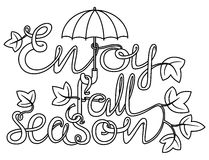 Fall season doodle lettering Royalty Free Stock Photos