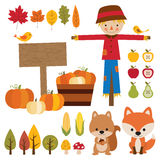 Fall Season Elements. Illustrations of fall graphic elements Stock Photo