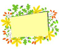 Fall season frame. Autumn border with bright leaves, acorns and Stock Photography