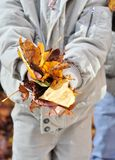 Fall Season. Gathering all the the leaves and throw up as high as you can stock image