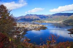 Fall season of Mt. Fuji in Japan with nice yellow color Stock Photos