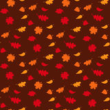 Fall season seamless pattern with leafs on brown background vector illustration Stock Images