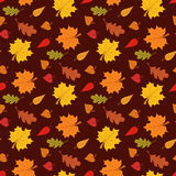 Fall season seamless pattern with leafs on brown background vector illustration Royalty Free Stock Images
