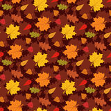 Fall season seamless pattern with leafs on brown background vector illustration Royalty Free Stock Photo
