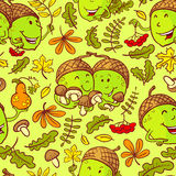 Fall season seamless pattern with smiling acorns. Fall season vector seamless pattern with smiling acorn characters and leaves in cartoon style Stock Photography