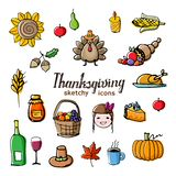 Thanksgiving theme doodle style icons with offset effect. stock illustration