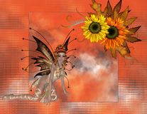 Fall Season Sunflower Fae Background. A striking background in bright orange and sunflowers. Then a lovely fall fae was added to add more beauty. This is a vector illustration