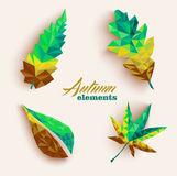 Fall season triangle leaves composition icon set. EPS10 file. Trendy 3d geometric autumn leaves compositions set. EPS10 vector file organized in layers for easy Stock Photos