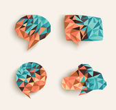 Fall season triangle social bubble icon set EPS10 file. Trendy 3d geometric social media speech bubble compositions set. EPS10 vector file organized in layers royalty free illustration