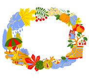 Fall season vector cartoon  wreath design Stock Image