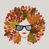 Fall season woman. Graphic design fall season woman (see series for all seasons stock illustration