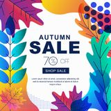 Fall seasonall sale vector square banner with color gradients leaves. Abstract autumn illustration background. stock illustration