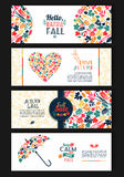 Fall set. Leaves composition. Banners of season. Royalty Free Stock Photos