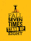 Fall Seven times, Stand up Eight. Quote, Sketched Vector Artwork. Fall Seven times, Stand up Eight. Quote, Typography Vector Artwork Stock Images